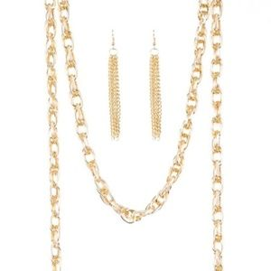 Gold Color Rope Necklace with Tassels